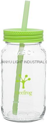 25oz sublimation drinking glass jar with straw 5
