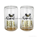 300ml beer can glass with gold logo