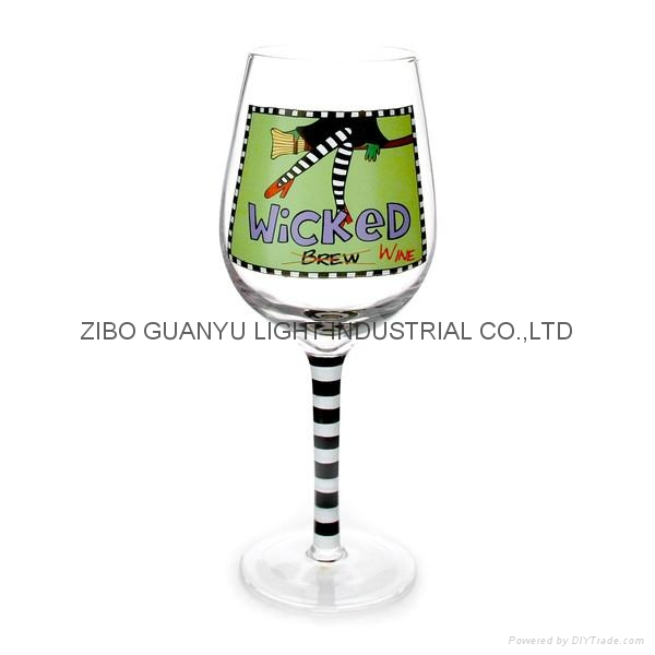 Wicked Wine glass with handpainted stem 3