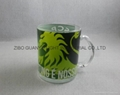 11oz glass mug with decal team logo