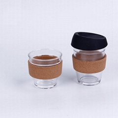 glass travel cup W cork sleeve