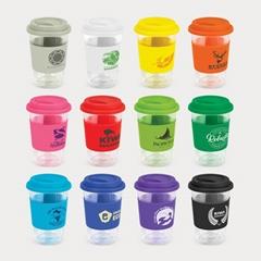 double wall glass coffee mug with silicone lid and sleeve