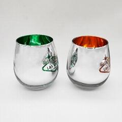 metallic stemless wine glass, engraved logo