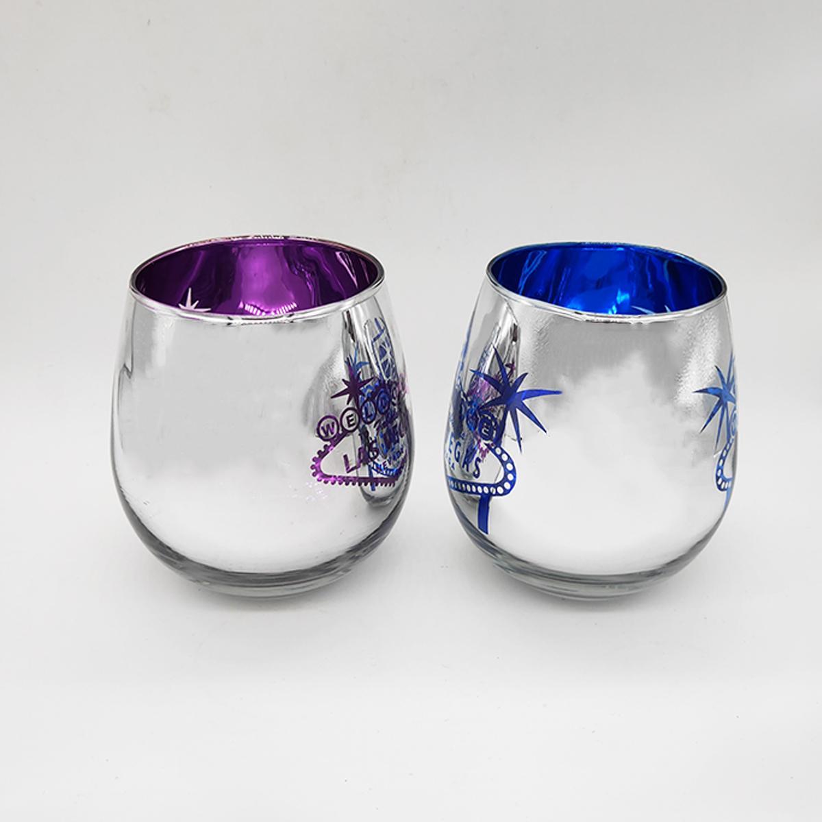 metallic stemless wine glass, engraved logo 2