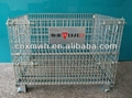 Rigid collapsible wire mesh container