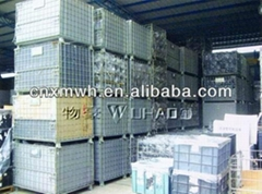 Folding rigid wire mesh pallet cage