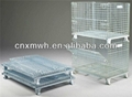 Collapsible wire mesh storage container on rack 3