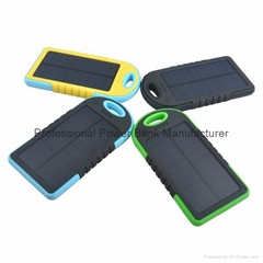 5000mah waterproof portable external solar mobile phone charger power bank