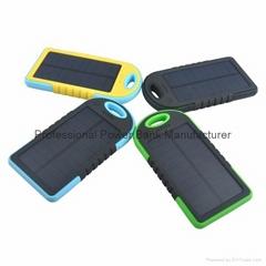 5000mah waterproof portable external solar mobile phone charger power bank