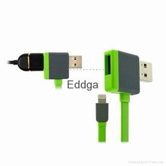 colorful fast charging flat dual 2 usb ports micro USB cable