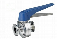 Sanitary Tri-clamp Ends Butterfly Valves Lever Handle