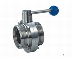 Sanitary Manual Butterfly Valve Male Threaded Ends Pull Handle