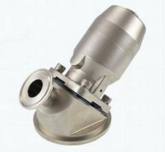 Sanitary pneumatic tank bottom diaphragm valve