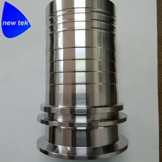 Sanitary Stainless Steel Crimp Stem Clamp End x Hose Shank 4