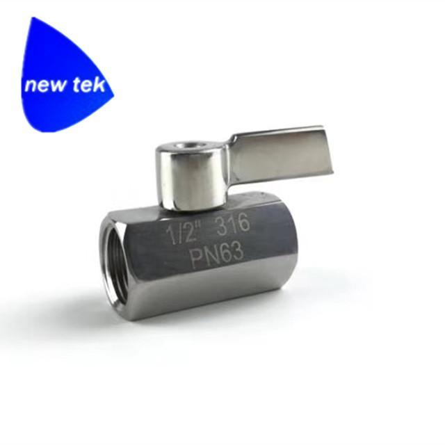 G BSPP Threaded SUS304 mini ball va  e stainless lever handle 5