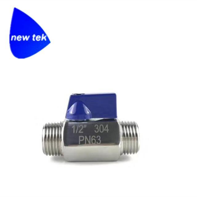 Stainless Steel Blue Handle Mini Ball Va  e M/M Threaded 2
