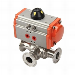 Sanitary Stainless Steel Tee Ball Valve with Pneumatic Actuator