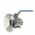 Sanitary SS 3pcs Tank Bottom Manual Ball Valve PTFE