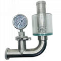 Sanitary Tri Clover Clamp Spunding Valve with Diaphragm Gauge Air Relief Valve 2