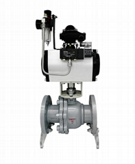 Double Acting Pneumatic Iron Flanged Ball Va  es