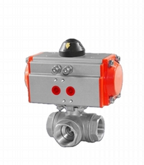 Stainless Steel Pneumatic Actuated 3-Way T or L type Ball Va  e