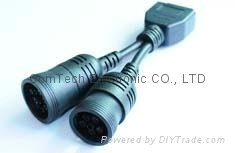 OBDII M  TO J1939 (9pin)+J1708 6P cable