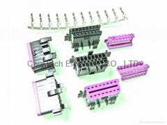 OBDII 16P 黑+紫 母座汽车连接器