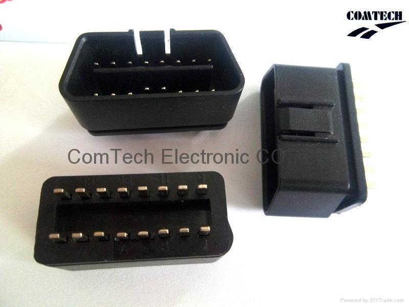 OBDII 16P M 180度焊线式连接器 1