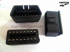 OBDII 16P M 180度焊线式连接器