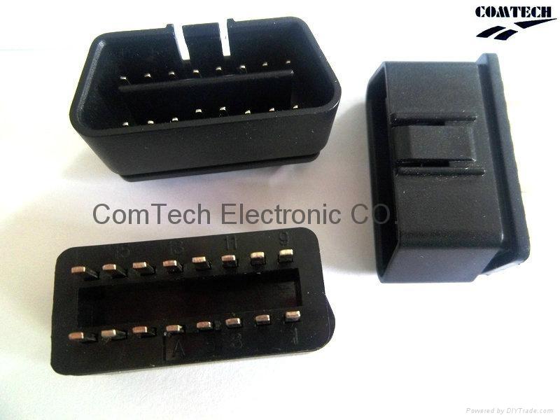 OBDII 16P M 180度焊线式连接器 2