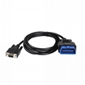 16 pin male female obd2 to db 9 female obdii car test diagnostic cable