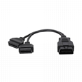 16PIN MALE TO FEMALE Y CABLE obd obd2 OBD2 splitter y male 2 female cable For O