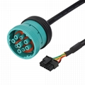 16PIN FEMALE TO J1939 TYPE2 MALE sae j1939 9 pin adapter gnostic cable for truck