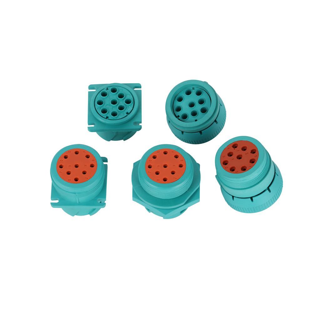 j1939 9針2型內螺紋綠色螺紋連接器J19399針綠色圓形連接器 4