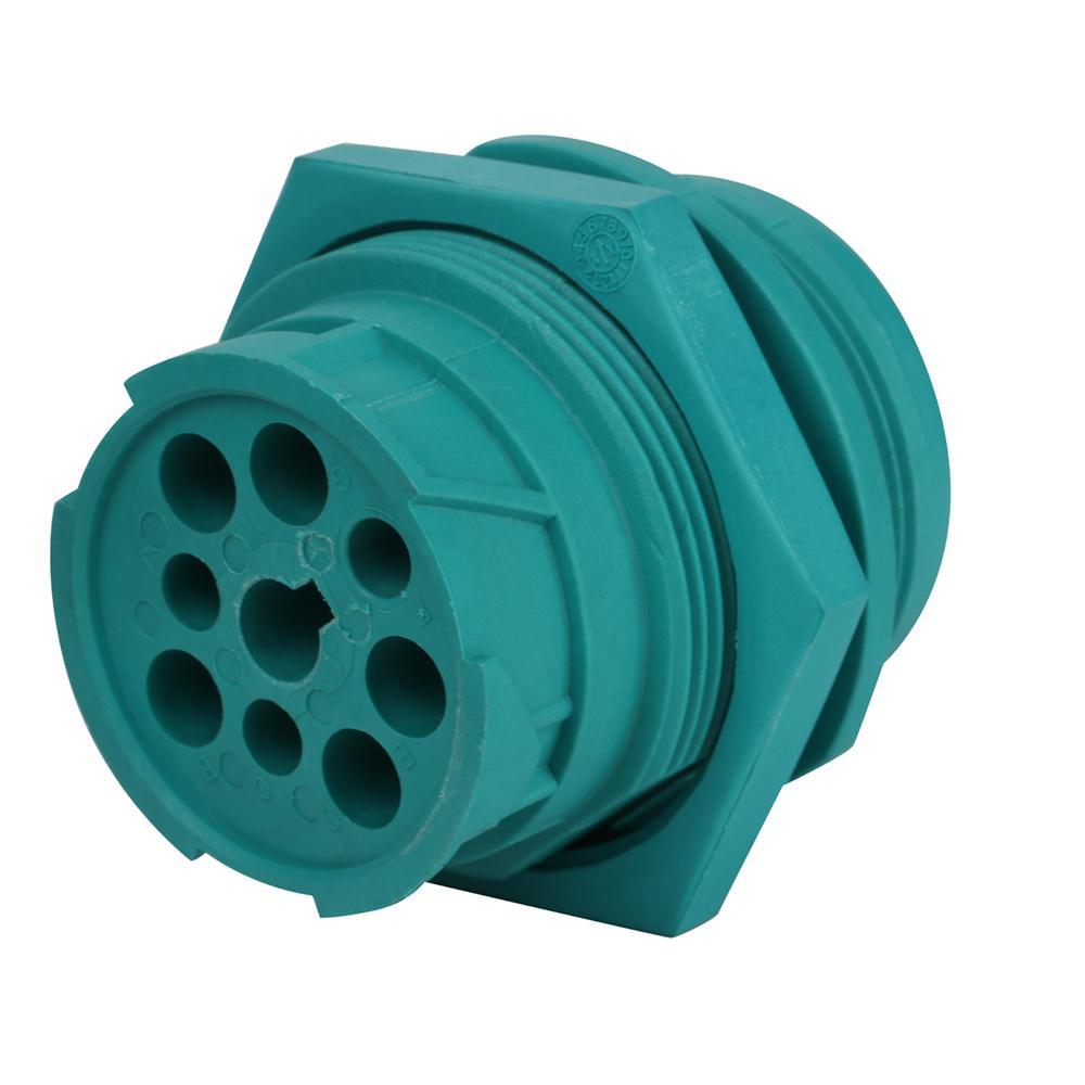 j1939 9針2型內螺紋綠色螺紋連接器J19399針綠色圓形連接器 1