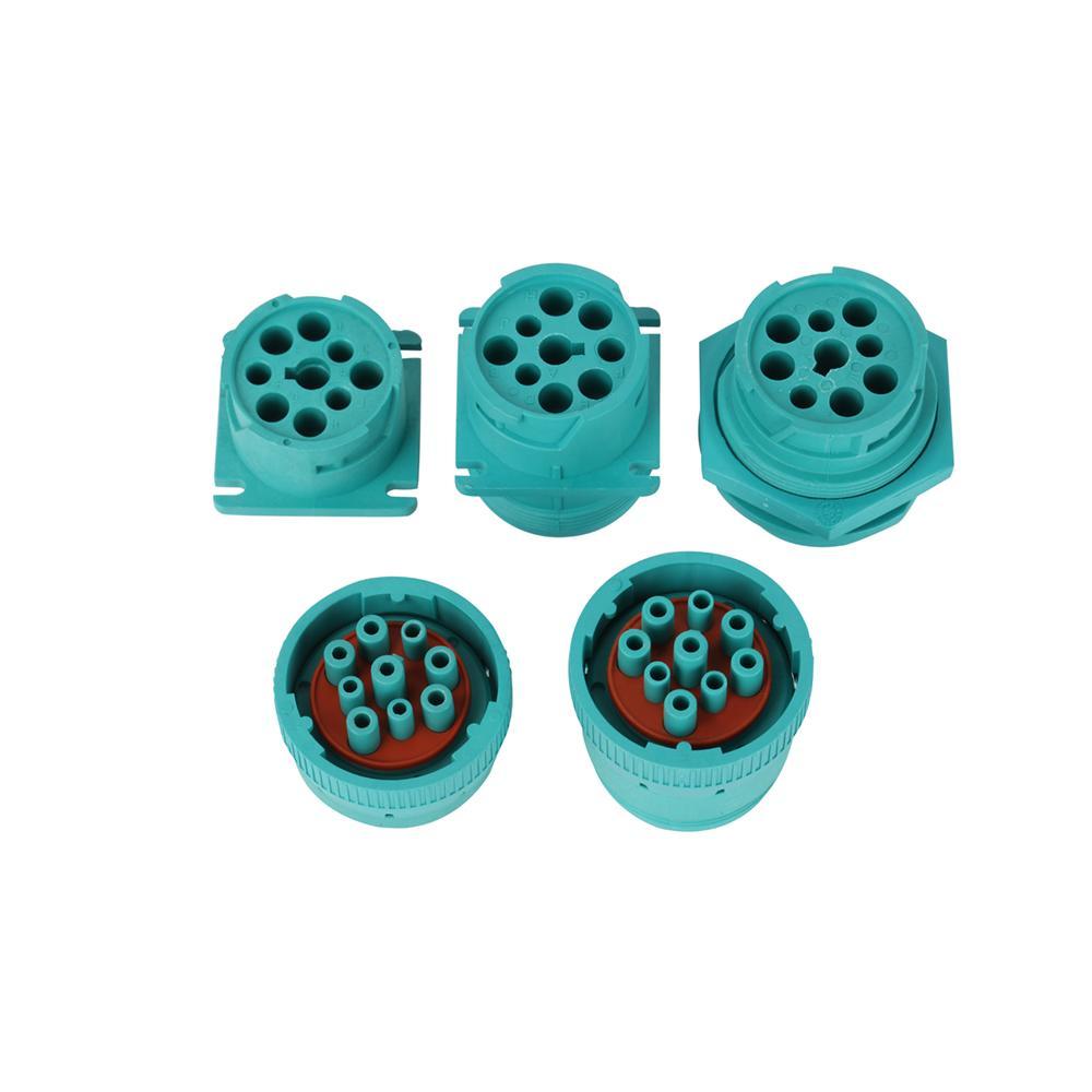 j1939 9針2型內螺紋綠色螺紋連接器J19399針綠色圓形連接器 6