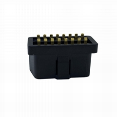 OBDII2黑色焊板公母座16PIN芯針插頭