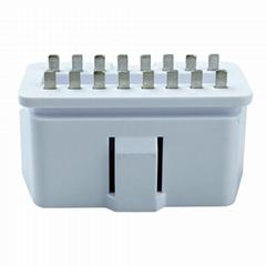 obd2公头16针/pin插头 OBDII PA66材料实心焊板式光面OBD连接器