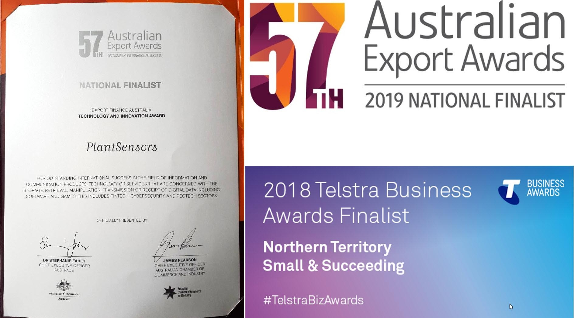 PlantSensors won the 2019 Northern Territory Export Awards for Technology and Innovation. We are also the 2019 National Finalist for Australian Export Awards for Technology and Innovation.