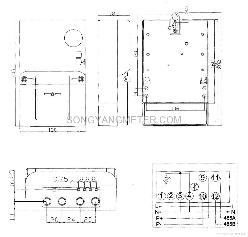 Single Phase Multi Rate Static Electricity Meter Sy1035 Songyang Energy Wiring Diagram