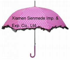 Girls Pink DOT Parasol Straight Umbrella