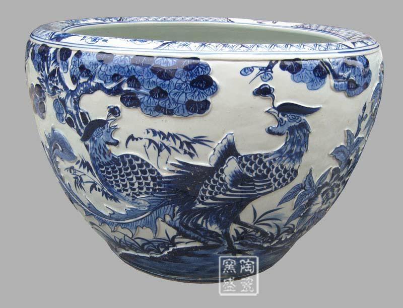 供应手工微雕陶瓷大缸 2