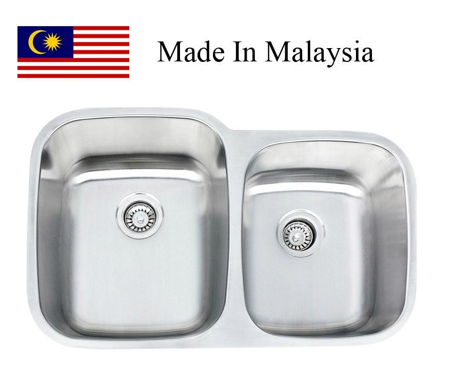 3221L (60/40) CUPC stainless steel kitchen sink Made In Malaysia - on 60 kitchen countertop, 60 kitchen bench, 60 kitchen cabinet, 60 kitchen hood, 60 kitchen stove,