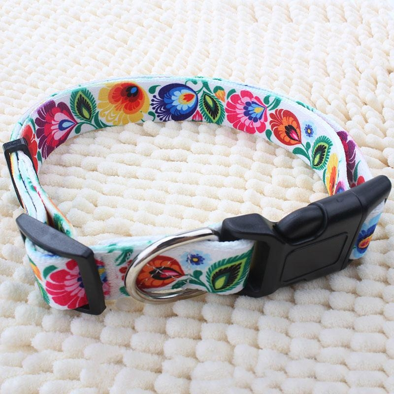 New arrival wholesale custom heat transfer printed polyester dog collar 4