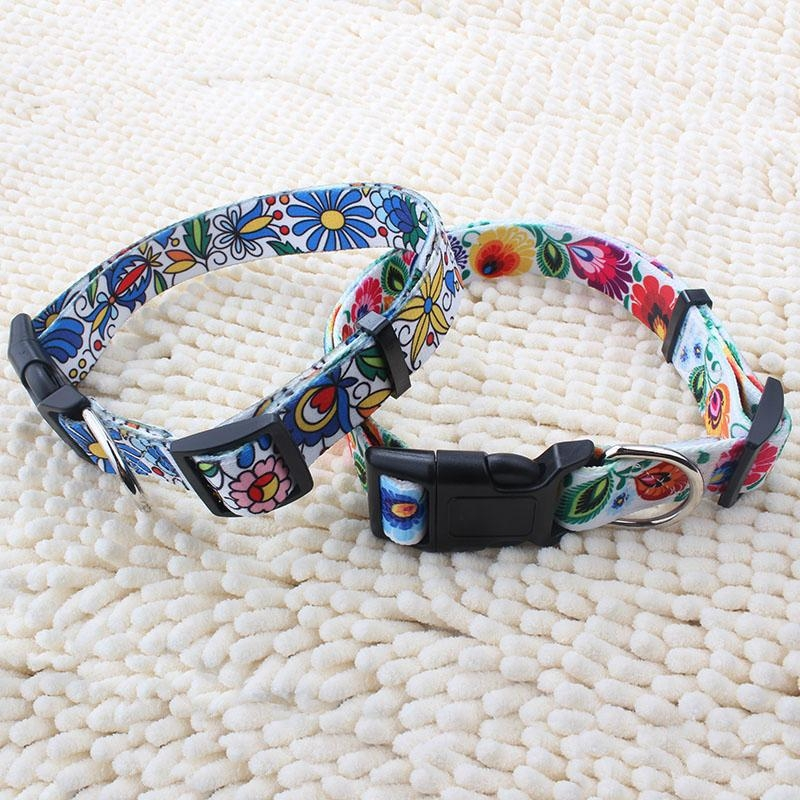 New arrival wholesale custom heat transfer printed polyester dog collar 1