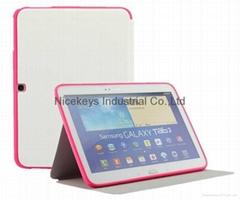 三星P5200官方三折皮套p5210支架Tab 3 10.1寸電壓平板正品護殼