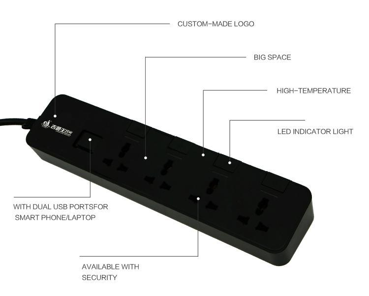 250V multi outlet with dual usb ports 5 gang universal socket plug  3