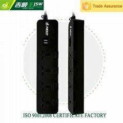 250V multi outlet with dual usb ports 5 gang universal socket plug