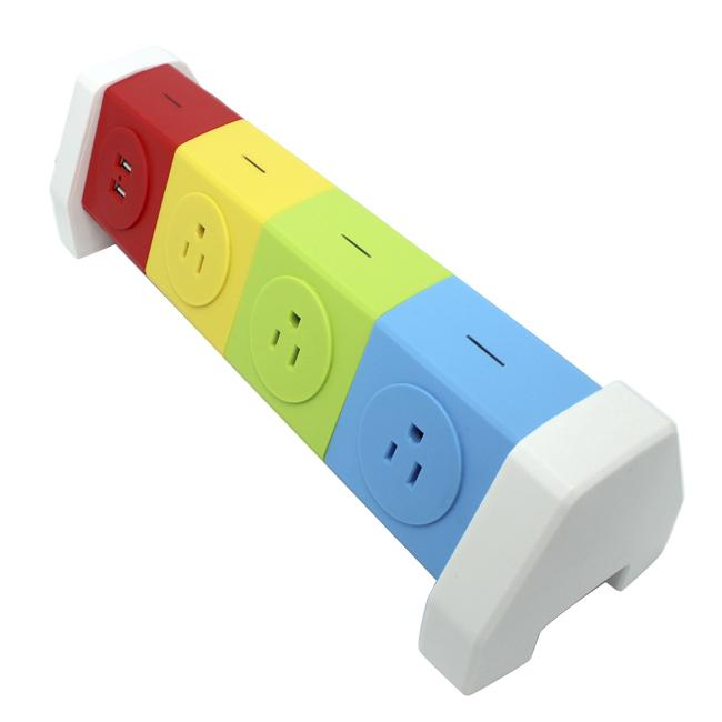 Rotating Electrical 7 Outlet Household Power Strip Overload Board Spike Guard  2