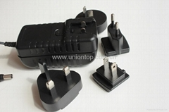 5V 1A power adapter with interchangeable plugs US EU AU UK